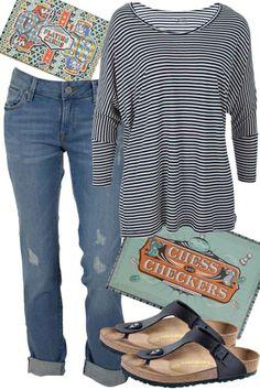 Stripes and Checkers Outfit includes Mavi, Betty Basics, and Birkenstock - Birdsnest Australia