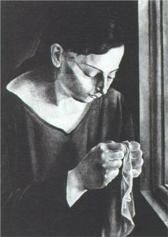 Salvador Dali (1904 - 1989) | Expressionism | Ana Maria, Sewing - 1926