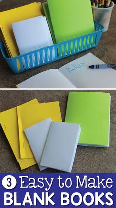Blank books provide a great way to encourage kids to write. Here are 3 easy ways to assemble blank books for your writing centers and beyond. These are great for preschool, pre-k, kindergarten, SPED, and early childhood classrooms and at home. Ideas for u
