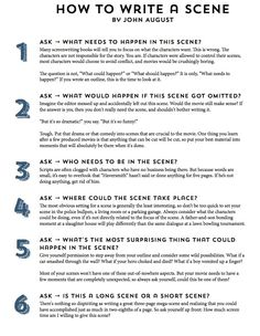 Editing writing scene checklist - Google Search