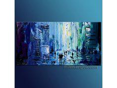 """Blue evening"" teal blue Original painting ABSTRACT  Textured Oil on Canvas 45"" x 23""  ART UNIQUE  paint technique modern"
