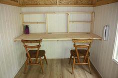 Fold down, space saving desk