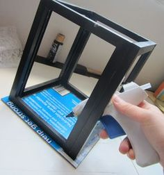 For a picture frame lanter or maybe card box?: put 4 frames and super glue them … For a picture frame lanter or maybe card box?: put 4 frames and super glue them together, insert the pictures and have a fun picture frame Frame Crafts, Diy Crafts, Diy Frame, Diy Projects To Try, Craft Projects, Lantern Candle Holders, Lantern Diy, Lantern Wedding, Card Box Wedding