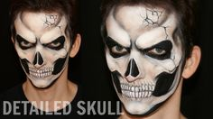 "Detailed skull makeup tutorial design for Halloween, realistic and badass. Rock the party with this a la Lady Gaga ""Born this way"" 3D skull (face painting). ..."