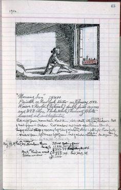 Edward Hopper, page 43 from Artist's ledger—Book III, 1924–67. Ink, graphite, and colored pencil. Whitney Museum of American Art, New York