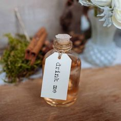 Mini Glass Bottles With Cork Stopper - for drinks wedding favour