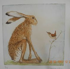 hare and wren hand tinted dry point