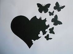 Stencil heart with butterflies on - Plotter Schablonen - Free Stencils, Stencil Templates, Stencil Designs, Butterfly Stencil, Heart Stencil, Happy Paintings, Tattoo Stencils, Airbrush Art, Creative Tattoos