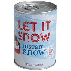 Instant Snow. Just pop open the can, sprinkle the snow, add water and watch it grow! Expands to 100 times its original size.