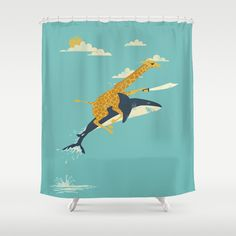 """With our powers combined...this...is """"Onward!"""" by Jay Fleck. Shower with this unlikely pair by picking up this shower curtain at Society6."""