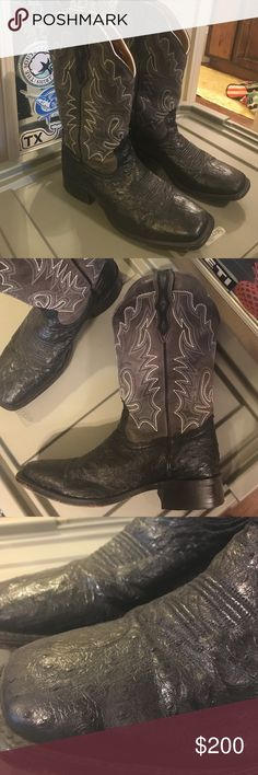 Black Ostrich Boots Boulet handmade ostrich boots. Black bottoms with gray uppers. Men's 8 1/2 E. bought as FFA show boots, worn 3 times. Boulet Shoes Cowboy & Western Boots