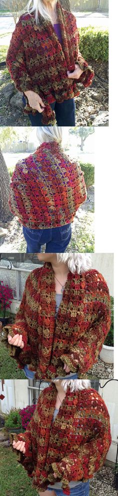 Other Needle Arts and Crafts 71184: Hand Crocheted Shawl, Afghan Or Shoulder Wrap, Handmade, Fall Colors, Soft, Warm -> BUY IT NOW ONLY: $48 on eBay!