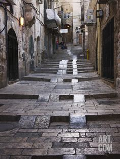 Ancient Street in the Old Town, Jerusalem, Israel Photographic Print by Keren Su at Art.com