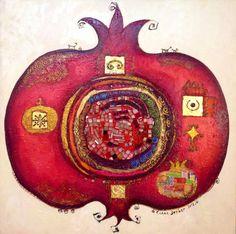 Pomegranate by Canan Berber Pomegranate Art, Jewish Celebrations, Grenade, Iranian Art, Jewish Art, Fruit Art, Textile Art, Altered Art, Online Art