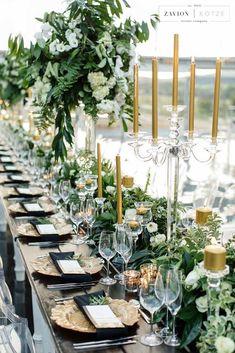 55 Super Elegant Black And Gold Wedding Ideas; wedding 55 Super Elegant Black And Gold Wedding Ideas - crazyforus Gold Wedding Decorations, Gold Wedding Theme, Wedding Reception Tables, Wedding Table Settings, Wedding Themes, Wedding Colors, Place Settings, Wedding Bouquet, Wedding Ceremony