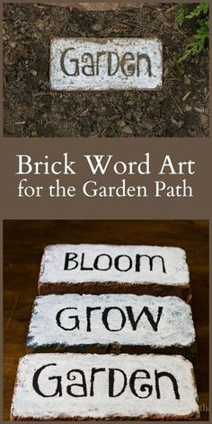 This tutorial for brick word art is super simple and is a great way to add beaut. - - This tutorial for brick word art is super simple and is a great way to add beauty and whimsy to the garden. Use as a stepping stone or pretty accent p. Brick Crafts, Brick Projects, Diy Garden Projects, Garden Crafts, Garden Art, Garden Planters, Garden Ideas, Painted Bricks Crafts, Painted Pavers