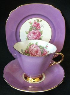 Colony of Bees Replacement China - A Windsor Bone China Harlequin 731/52 Purple Trio, Cup, Saucer