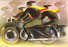 Pio Pullini un illustratore italiano futurista, è una cartolina postale premilitare e raffigura delle 'Camicie Nere' quali emuli dei bersaglieri motociclisti che compaiono sullo sfondo