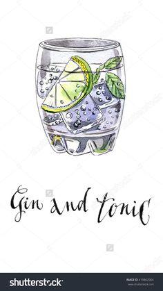 Glass of gin and tonic, hand drawn - watercolor Illustration-食品及饮料,物体-海洛创意(HelloRF)-Shutterstock中国独家合作伙伴-正版素材在线交易平台-站酷旗下品牌