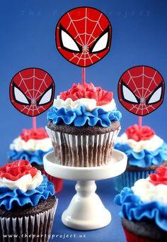Cutest Spider-man party printables! - Superhero cupcake toppers! //// Decoracion para cupcakes tematica Hombre Araña!