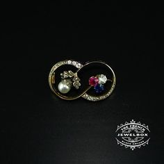 England and Ireland - Diamond, Sapphire, Ruby and natural pearl brooch