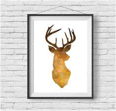 Mustard Geometric Deer Print Mustard Deer Head Gold by PrintAvenue
