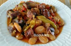 Γίγαντες σπετζοφάι με λουκάνικα και λαχανικά Sausage, Cooking Recipes, Meat, Food, Eten, Sausages, Meals, Recipes