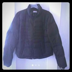 Black Fitted Down Jacket. Genuine Down! NWOT! Size 10. Fitted. Ann Taylor LOFT. Down & Waterfowl fill. 70% Down and 30% Waterfowl to be precise.   Bought from a discount store for STILL a pretty hefty price but once I gave it to my daughter she noticed right away why it was discounted. NO HOOD! Lol That wouldn't be an issue except for the fact that the zipper (barely noticeable) around the collar clearly indicates the lack of one! She never wore it. :/   My negligence, your gain!  From smoke…