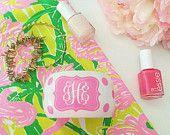Monogrammed pink polka dot bangle bracelet