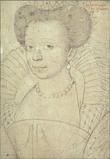 Catherine Of Cleves, Duchess of Guise.(1548-1633) Daughter of Francis I of Cleves, Duke of Nevers and Marguerite of Boubon la Marche. Married to Henry II, Duke of Guise, uncle to Mary Queen of Scots.