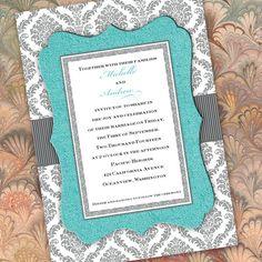 Tiffany blue and gray invitation, gray damask invitation, IN284
