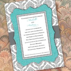 Tiffany blue and gray invitation gray damask by CeceliaJane, $20.00