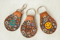 Custom initial leather key fob  Floral Pattern Bag tag  hand