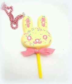 Trinkets - bunny necklace - Kawaii - candy sprinkles -resin - plastic -handmade - My Sweet Skull