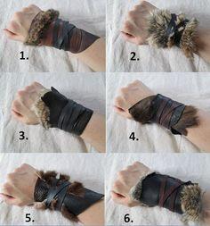 1 Tribal Leather Fur Cuff Viking Barbarian by FolkOfTheWoodCrafts, $20.00