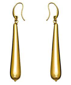 1AR By UnoAerre Gold Electroplate Long Teardrop Electroform Earrings