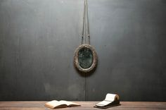 USA, 1860s, Vintage Civil War Hanging General's Shaving Mirror. Cloth and Silk Covered Frame with Old Mercury Glass Beveled Mirror.