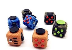Fidget Cube Relieves Stress and Anxiety for Children and Adults Anxiety Attention Toys 6 Colors (Black-Green)