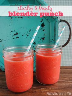 Slushy fruit blender punch - 1 package of frozen strawberries, I can frozen lemonade, 1 can pineapple juice BLEND. Then add 1 (10 oz.) can of sparkling water.
