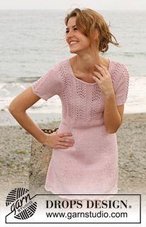 """Strikket DROPS kjole med hulmønster i """"Muskat"""". Str S - XXXL. ~ DROPS Design"""