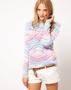 pastel animal sweater