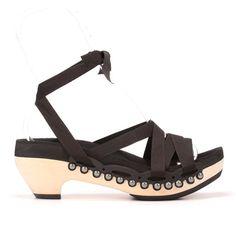 Mid Heel Ribbon Sandals Custom Vegan Handmade Black or by mohop