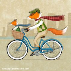 Foxes. Bicycles. Plaid. What more could you want in an illustration?