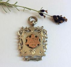 Antique English Sterling Pendant Fob 1st Prize Medal 1896