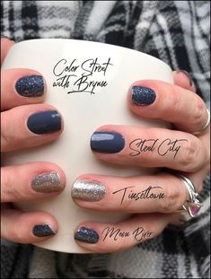 Color Street nails are real nail polish that are easy to apply. Not tools, kit or heat needed. Fancy Nails, Cute Nails, Pretty Nails, Cute Nail Art Designs, Nail Color Combos, Nail Polish Colors, Gel Polish, Burgundy Nails, Gray Nails