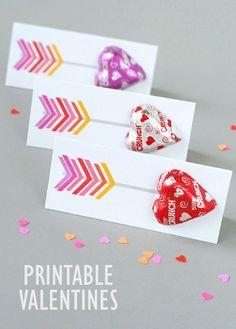 Tarjetas con corazones de chocolate con aspecto de flechas de San Valentin #DulcesDeAmorYAmistad
