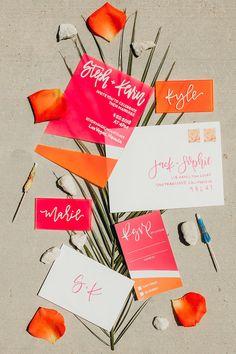 Acrylic Wedding Invitations with Calligraphy // Acrylic Invites // Painted Acrylic Invitations // Pink and Orange // Custom Wedding Stationery // Neon Wedding Stationery // Modern Calligraphy Colorful Wedding Invitations, Unique Invitations, Pink Invitations, Wedding Stationary, Invitation Design, Invitation Suite, Invitation Cards, Acrylic Wedding Invitations, Wedding Envelopes
