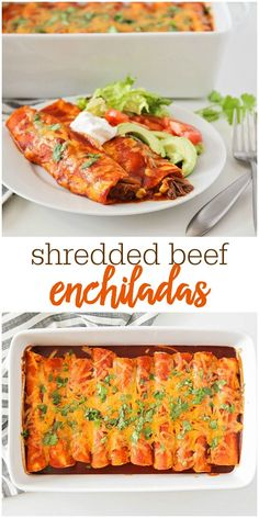 Shredded Beef Enchiladas Made with Just 6 ingredients! This easy dinner idea is a crowd pleaser and is filled with corn, beef, green chiles, cheese and covered in red sauce.