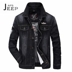 AFS JEEP 4XL to M Real Man's High Quality Brand Denim jacket,Mutil-pockets Black denim outwear,turn down collar motorcycle coat #Affiliate