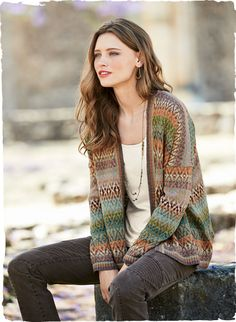 An artist's palette  of soft, bright color is knit into our easy Fair Isle cardigan. Drop shoulders; clean placket; ribbed trim.